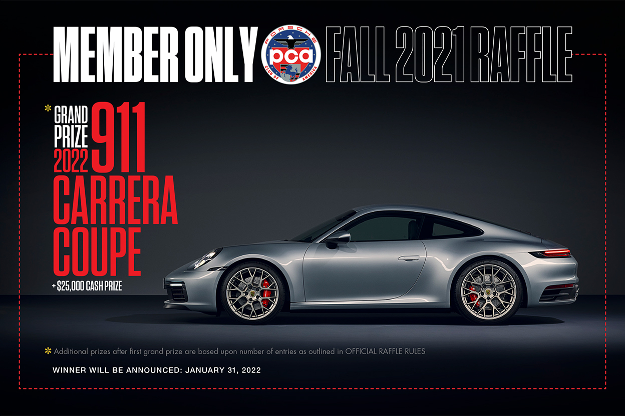 Enter the Fall 2021 Member Only Raffle for a chance to win a 2022 Porsche 911 Carrera!